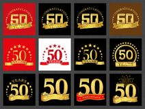 Set of number fifty 50 years celebration design. Anniversary golden number template elements for your birthday party.. Set of number fifty 50 years celebration stock illustration