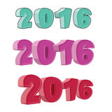 Set number 2016. Figures for the new year. Hilarious cartoon-sty. Le Stock Photos