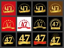 Set of number forty-seven 47 years celebration design. Anniversary golden number template elements for your birthday party.. Set of number forty-seven 47 years royalty free illustration