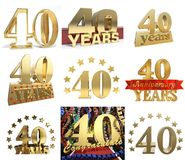 Set of number forty years 40 years celebration design. Royalty Free Stock Photo