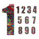 Set of number with hand drawn abstract doodle pattern. Stock Photos