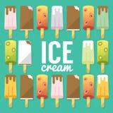 Set of number ice cream, flat icons,  Stock Photo