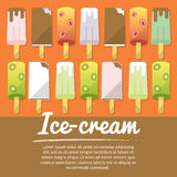 Set of number ice cream, flat icons,  with text Stock Photos