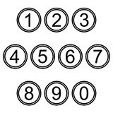 Numbers symbols icons signs simple black and white colored set stock illustration