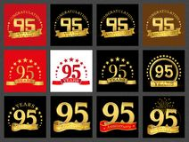 Set of number ninety-five 95 years celebration design. Anniversary golden number template elements for your birthday party.. Set of number ninety-five 95 years royalty free illustration