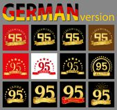 Set of number ninety-five 95 years celebration design. Anniversary golden number template elements for your birthday party. Tran. Slated from the German royalty free illustration