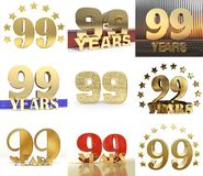 Set of number ninety nine year 99 year celebration design. Anniversary golden number template elements for your birthday party. 3D illustration Royalty Free Illustration