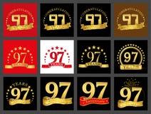 Set of number ninety-seven 97 years celebration design. Anniversary golden number template elements for your birthday party.. Set of number ninety-seven 97 royalty free illustration