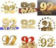 Set of number ninety two year 92 year celebration design. Anniversary golden number template elements for your birthday party. 3. D illustration vector illustration
