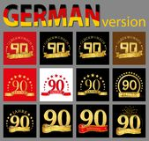 Set of number ninety 90 years celebration design. Anniversary golden number template elements for your birthday party. Translate. D from the German vector illustration