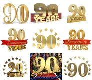 Set of number ninety years 90 years celebration design. Stock Photography