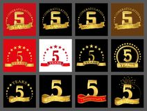 Set of number one five 5 year celebration design. Anniversary golden number template elements for your birthday party.  vector illustration