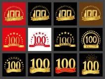 Set of number one hundred 100 years celebration design. Anniversary golden number template elements for your birthday party.. Set of number one hundred 100 royalty free illustration