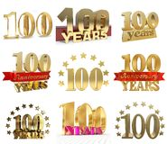 Set of number one hundred years 100 years celebration design. Anniversary golden number template elements for your birthday party. 3D illustration vector illustration