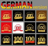 Set of number one hundred 100 years celebration design. Anniversary golden number template elements for your birthday party. Tra. Nslated from the German vector illustration