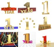 Set of number one year 1 year celebration design. Anniversary golden number template elements for your birthday party. 3D illustration Royalty Free Stock Images