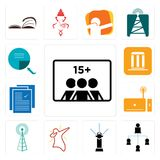 Set of number players, distributor, sprinkler, dab, cell tower, set top box, specification, municipality, page turn icons. Set Of 13 simple editable icons such Stock Photography