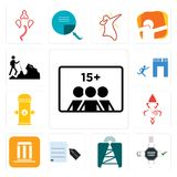 Set of number players, order form, cell tower, request a quote, municipality, ganesh, fire hydrant, join us, hiker icons. Set Of 13 simple editable icons such as Stock Photo
