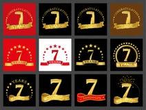 Set of number seven 7 years celebration design. Anniversary golden number template elements for your birthday party. Set of number seven 7 years celebration stock illustration