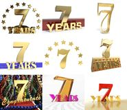 Set of number seven years 7 years celebration design. Anniversary golden number template elements for your birthday. Party. 3D illustration Royalty Free Stock Photography