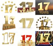 Set of number seventeen year 17 year celebration design. Anniversary golden number template elements for your birthday party. 3D. Illustration royalty free illustration