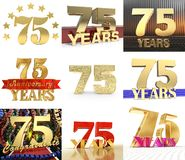 Set of number seventy five year 75 year celebration design. Anniversary golden number template elements for your birthday party. 3D illustration vector illustration