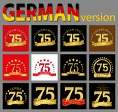Set of number seventy-five 75 years celebration design. Anniversary golden number template elements for your birthday party. Tra. Nslated from the German stock illustration