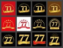 Set of number seventy-seven 77 years celebration design. Anniversary golden number template elements for your birthday party.. Set of number seventy-seven 77 vector illustration