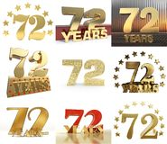 Set of number seventy two year 72 year celebration design. Anniversary golden number template elements for your birthday party. 3D illustration Royalty Free Illustration