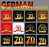 Set of number seventy 70 years celebration design. Anniversary golden number template elements for your birthday party. Translat. Ed from the German royalty free illustration