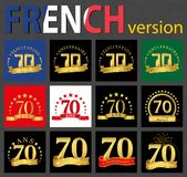 French set of number 70 templates. Set of number 70 seventy years celebration design. Anniversary golden number template elements for your birthday party royalty free illustration