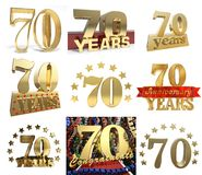 Set of number seventy years 70 years celebration design. Anniversary golden number template elements for your birthday party. 3D illustration Royalty Free Stock Photography