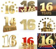 Set of number sixteen year 16 year celebration design. Anniversary golden number template elements for your birthday party. 3D i. Llustration vector illustration