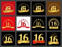 Set of number sixteen 16 years celebration design. Anniversary golden number template elements for your birthday party.. Set of number sixteen 16 years stock illustration