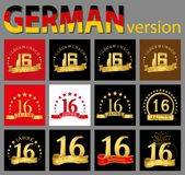 Set of number sixteen 16 years celebration design. Anniversary golden number template elements for your birthday party. Translat. Ed from the German stock illustration