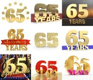 Set of number sixty five year 65 year celebration design. Anniversary golden number template elements for your birthday party. 3. D illustration stock illustration