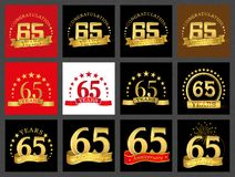 Set of number sixty-five 65 years celebration design. Anniversary golden number template elements for your birthday party.. Set of number sixty-five 65 years vector illustration