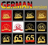 Set of number sixty-five 65 years celebration design. Anniversary golden number template elements for your birthday party. Trans. Lated from the German vector illustration