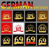 Set of number sixty-nine 69 years celebration design. Anniversary golden number template elements for your birthday party. Trans. Lated from the German vector illustration