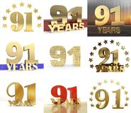 Set of number sixty ninety one 91 year celebration design. Anniversary golden number template elements for your birthday party. Set of number ninety one year 91 royalty free illustration