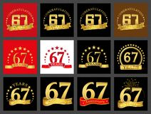 Set of number sixty-seven 67 years celebration design. Anniversary golden number template elements for your birthday party.. Set of number sixty-seven 67 years stock illustration
