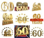 Set of number sixty years 60 years celebration design. Royalty Free Stock Image