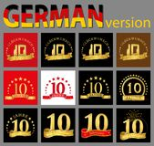 Set of number ten 10 years celebration design. Anniversary golden number template elements for your birthday party. Translated f. Rom the German - congratulation vector illustration