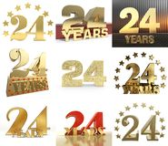 Set of number twenty four year 24 year celebration design. Anniversary golden number template elements for your birthday party. 3D illustration vector illustration