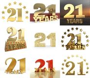 Set of number twenty one year 21 year celebration design. Anniversary golden number template elements for your birthday party. 3. D illustration vector illustration