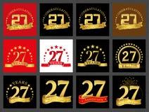 Set of number twenty-seven 27 years celebration design. Anniversary golden number template elements for your birthday party.. Set of number twenty-seven 27 vector illustration