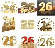 Set of number twenty six year 26 year celebration design. Anniversary golden number template elements for your birthday party. 3D. Illustration stock illustration