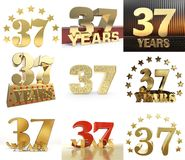 Set of number twenty thirty seven 37 year celebration design. Anniversary golden number template elements for your birthday part. Y. 3D illustration royalty free illustration