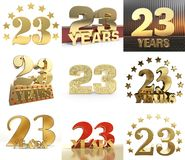 Set of number twenty three year 23 year celebration design. Anniversary golden number template elements for your birthday party. 3D illustration vector illustration