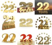 Set of number twenty two year 22 year celebration design. Anniversary golden number template elements for your birthday party. 3. D illustration royalty free illustration